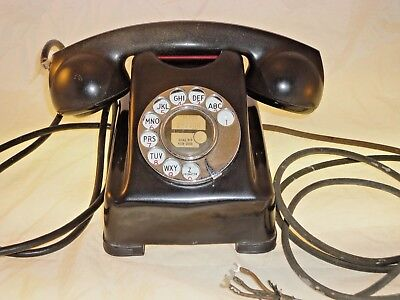 Vintage Kellogg 1000 Series Red Bar Bakelite Phone Cloth Cord Chrome Rotary Dial