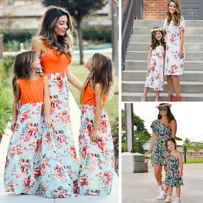 Mother Daughter Matching Floral Dress Summer Women Girls Family Clothes Outfit