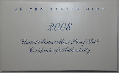 2008-S Clad Proof Set New US Mint Product COA ONLY, NO COINS