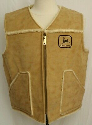 Vintage Swingster John Deer Sherpa Full Zip Beige Ranch Vest USA Men's L