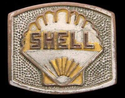 PH04127 AWESOME 1940s HAMLIN **SHELL OIL COMPANY** SHELL LOGO OILFIELD BUCKLE