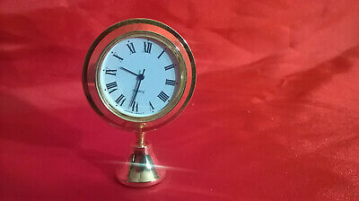 small brass mounted clock japanese quartz with adjustable  mounting