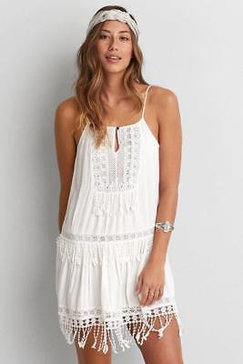 9f35f631681 (NWOT AMERICAN EAGLE OUTFITTERS WHITE CROCHET TIERED FRINGE SHIFT DRESS sz  XXS)