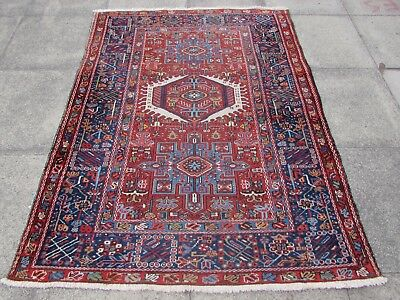 Antique Traditional Hand Made Persian Oriental Wool Red Rug 183x142cm
