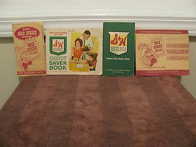 Vintage 1960's S&H Green Stamps Quick Saver Books + GOLD STRIKE STAMPS (4 Books)