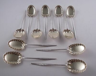 Whiting Oval Twist Sterling Silver Set 12 Ice Cream Spoons Rare