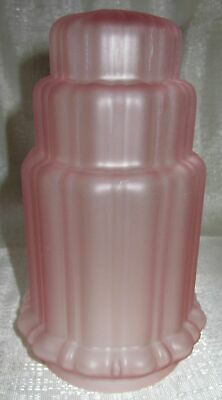 "Frankart 3-1/8"" fitter lamp globe replacement art deco frosted pink glass shade"