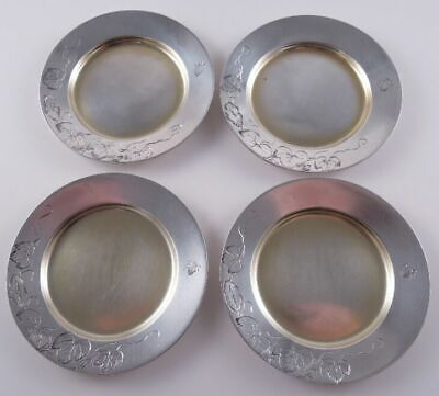 Tiffany Sterling Antique Set 4 Butter Pats Aesthetic Engraved Bugs Vines