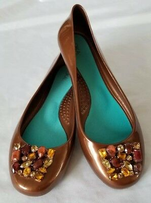 95086be9d425 OKA b Bronze Ballet Jelly Rubber Shoes Flats Women s Size 8 US Jeweled Toes  NWOB
