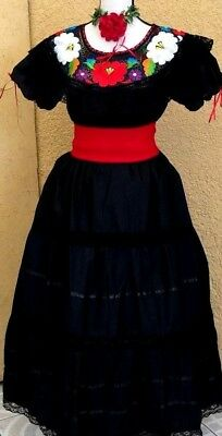 a698559469d Black Maxi Dress Mexican Fiesta Wedding 2 Pc Floral Embroidery Ruffle 5 de  Mayo