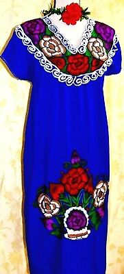 5 de Mayo Blue Mexico Dress Long Huipil Embroidered Oaxaca Cotton Vtg 2X NWT