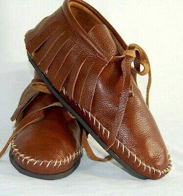 Leather Brown Soft Moccasins men's low boot fringe Indian lace Pawnee Tehuas NWT