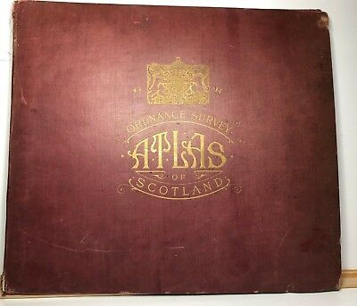 1924 Ordnance Survey Atlas of Scotland 1/4 inch to mile  18 large cloth back map