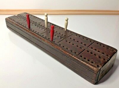 Antique Hardwood Handmade Cribbage Board 2 player Early 20th Century