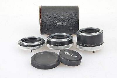 EXC++ VIVITAR FL/FD AT-4 AUTOMATIC EXTENSION TUBE SET 12, 20, 36mm SET