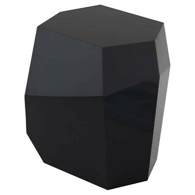 """20.5"""" T Set of 2 Geometric Side Table Wood Black Lacquer Modern Contemporary"""