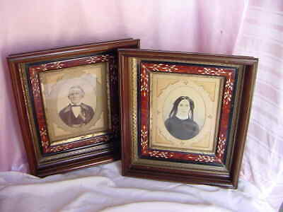 ANTIQUE 1800s MATCHED PAIR EASTLAKE WOOD PORTRAIT FRAMES W/ PICS VICTORIAN NICE!