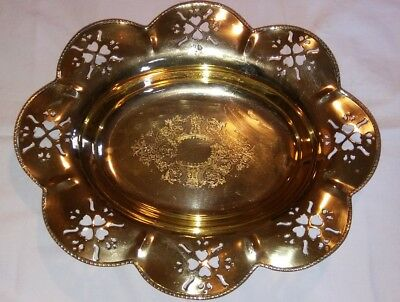 """Large Vintage 15"""" Oval Brass Footed Serving Platter Centerpiece Bowl with Hearts"""
