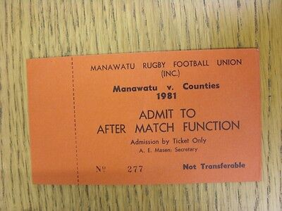 1981 Ticket: Rugby Union - Manawatu v Counties [After Match Function] (Complete)