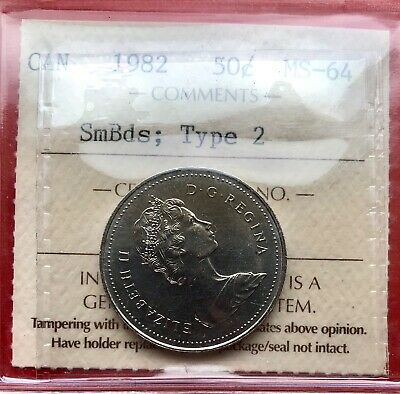 1982 SmBds Type 2 Canada 50 Cent Coin Fifty Silver Half Dollar - ICCS MS-64