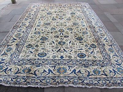 Old Hand Made Traditional Persian Rug Oriental Wool Green Large Carpet 403x299cm
