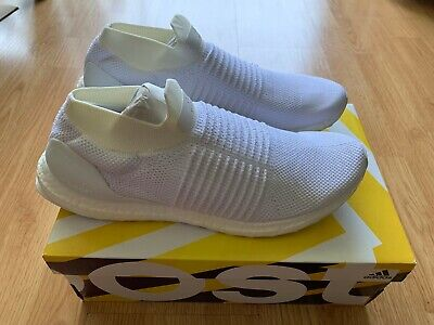 a8b6ec0b4e6 NIB Adidas Ultra Boost UltraBoost Laceless Triple White S80768  Sneakers Shoes