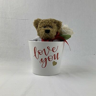 Valentines or Wedding Teddy Bear And Flower Pot Personalised Love You