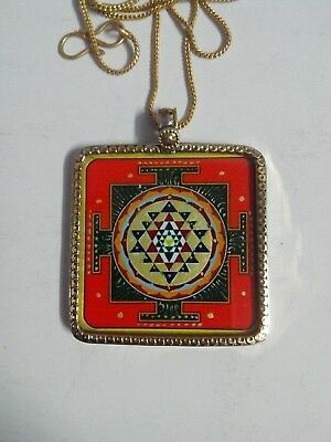 Handmade Brass Hindu Deity Goddess Laxmi Shree Yantra Photo Pendant With Chain