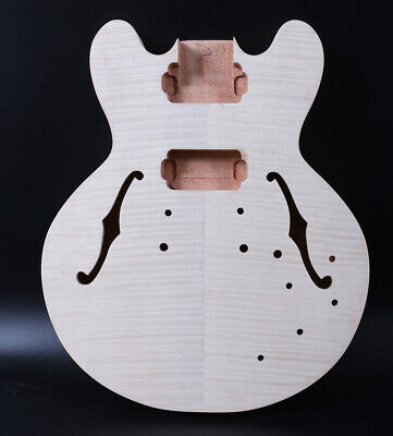 Diy Semi-Hollow Electric Guitar Body Mahogany+Flame Maple Unfinished