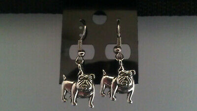 "Antique Silver ""bulldog / Dog"" Dangle Earrings"