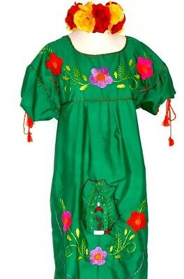 6397155aa3d 3XL Virgen de Guadalupe Green Mexican Maxi Dress Hand Embroidered 5 de Mayo  NWT