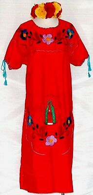 19376d3beb5 4XL Virgen de Guadalupe Mexican Red Maxi Dress Hand Embroidered 5 de Mayo  NWT