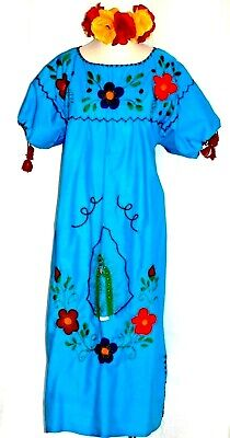 f8558f94db7 5XL Virgen Guadalupe Blue Maxi Mexican Dress Embroidered Caftan Plus 5 de  Mayo