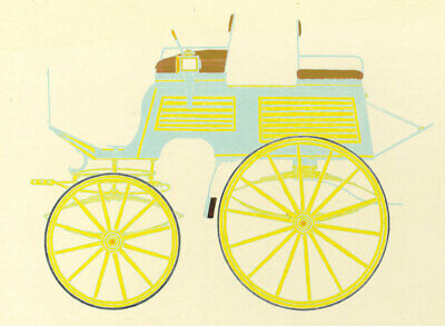 Set of Two 20th Century Hand-Coloured Plates, Horse-Drawn Carriages