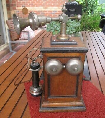Rare British Western Electric Swing Arm Wooden Table Telephone c.1900
