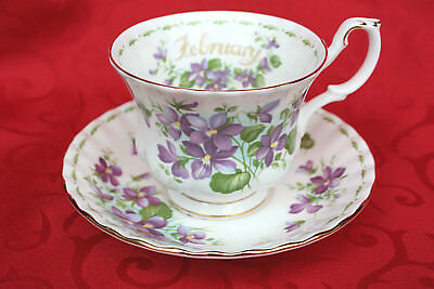 Royal Albert Flower of the Month February Violets Teacup & Saucer Set England