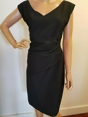 e13cd257 DIANE VON FURSTENBERG black stretch Ponte knit BEVIN sheath dress sz 14  ruched