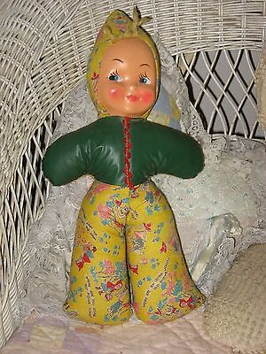 "Vintage 1950'S Cloth Baby Doll Handmade Handpainted Face 14"" H Very Good Cond."