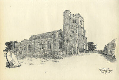 Austin Blomfield - 1959 Charcoal Drawing, Ivy Church, Romney Marsh