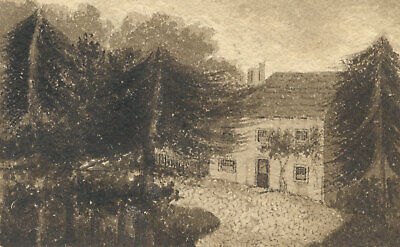 Small Monochrome Early 19th Century Watercolour - House beyond the Trees