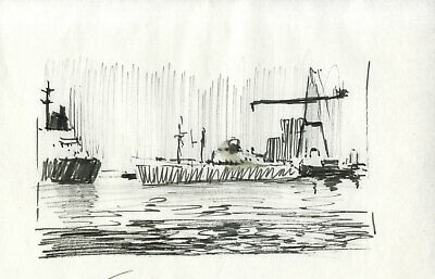 Sydney Vale FRSA - A Pair of Mid 20th Century Pen and Ink Drawings, Ship View