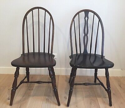 Pick up only Colonial Windsor Style American Bow Back Wood Dining Side Chairs