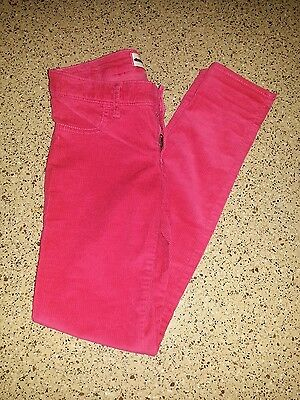 Abercrombie fitch kids girls Raspberry Pink cord leggings jeans size 14 Slim