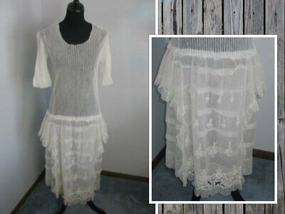 Antique 1930s Flapper Dress Embroidered Net Lace Tiers of Rufles-Wedding Bridal