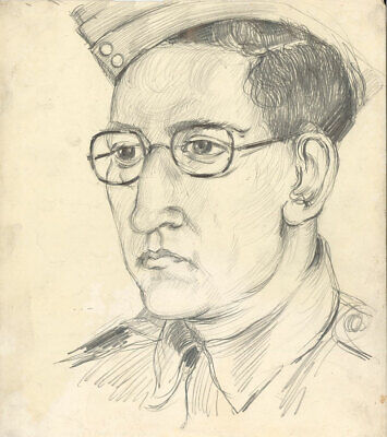 Peter Collins ARCA - c.1970s Graphite Drawing, Portrait of a Military Man