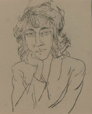 Peter Collins ARCA - c.1970s Charcoal Drawing, Portrait of a Lady