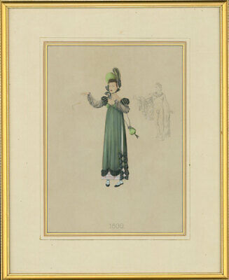 Fine Early 20th Century Gouache - A Fashionable Lady