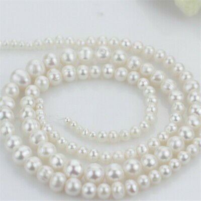 """1pcs 6-10MM White Baroque Beads Pearl Chain 16.5"""" personality flawless Jewelry"""