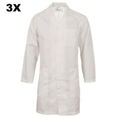 3X Food Industry Dust Coat Work Wear Lab Coat Dnc With Metal Press Studs Closure