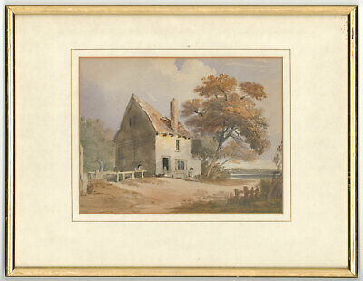Framed 19th Century Watercolour - Rural Cottage with Sitting Figure